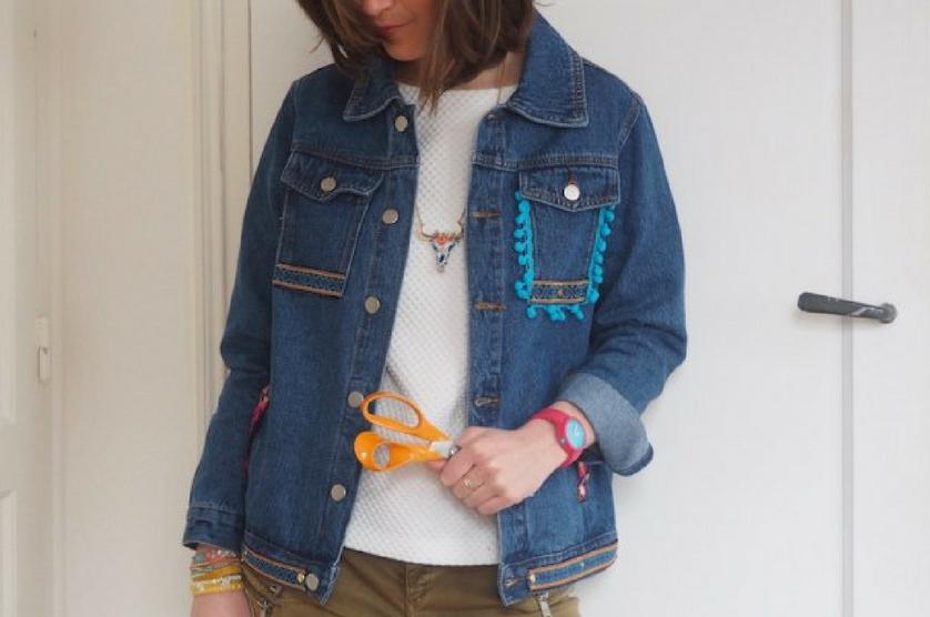 diy customiser une veste en jean sans machine coudre blog makerist. Black Bedroom Furniture Sets. Home Design Ideas