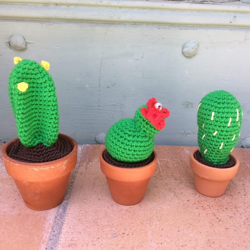Trois petits cactus dans un seul tuto crochet